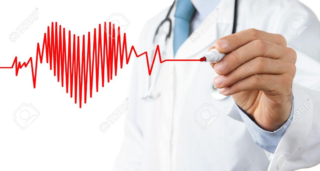 Doctor drawing heart beat symbol Standard-Bild - 50476837