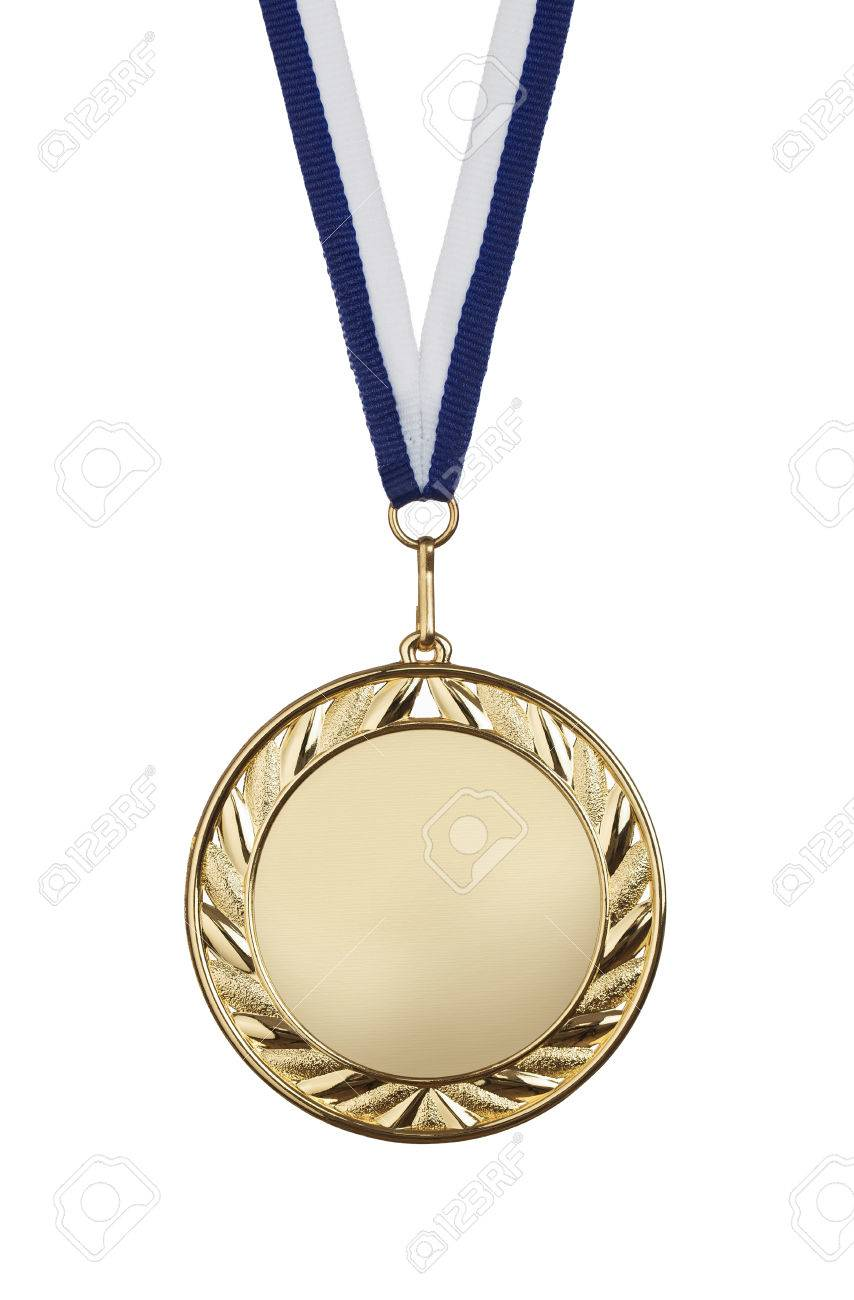 Blank gold medal isolated on white background with copy space Standard-Bild - 54464499