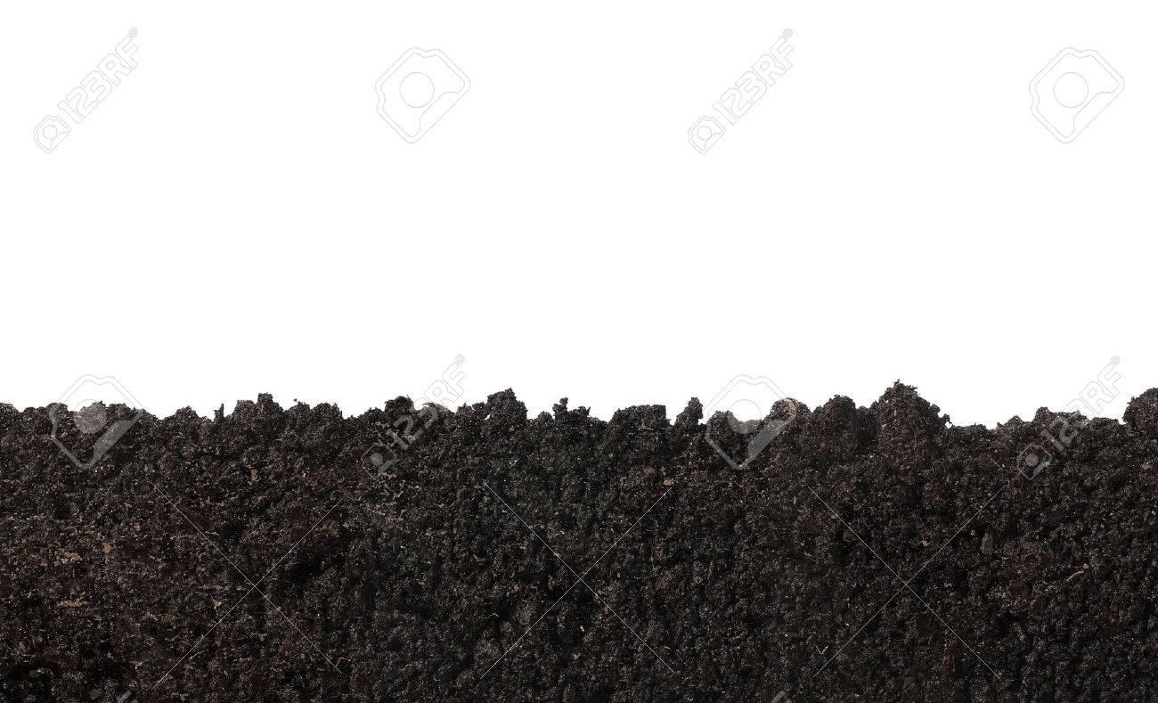 Seitenansicht der Bodenoberfläche, Textur auf weißem Hintergrund Standard-Bild - 55393228