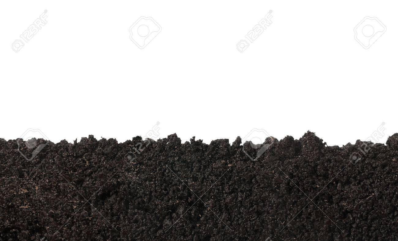 Side view of soil surface, texture isolated on white background - 55393228