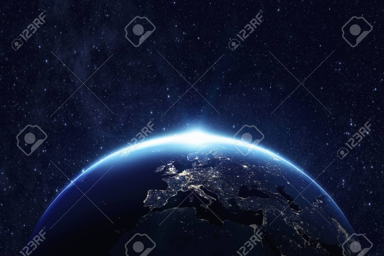 Planet Erde aus dem Raum in der Nacht. Standard-Bild - 59964379