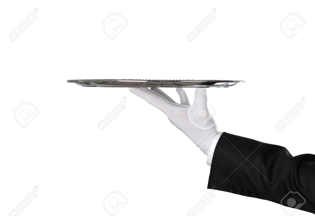 Waiter holding empty silver tray isolated on white background with copy space - 71981516
