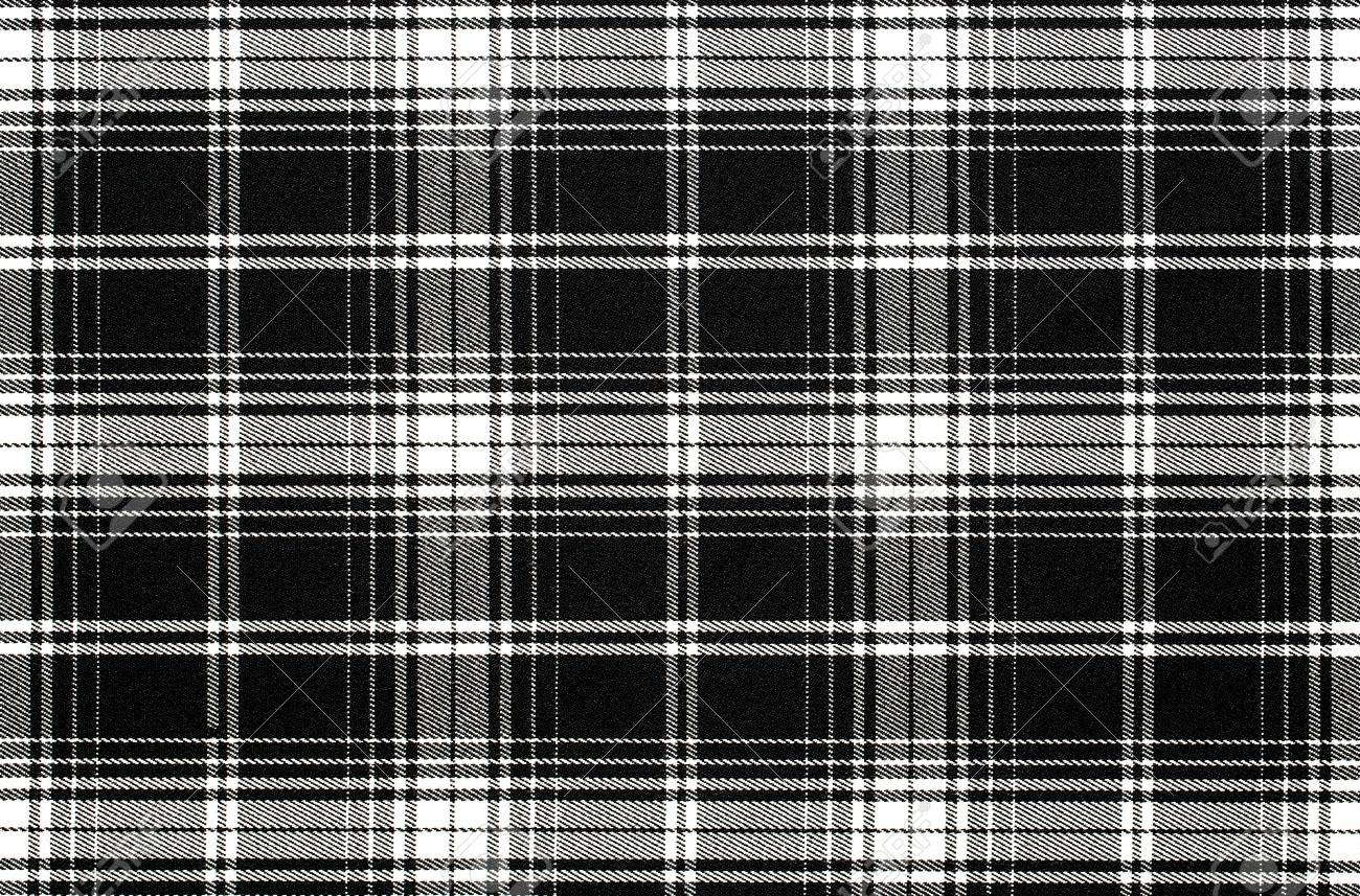 Close Up Of Black And White Checkered Fabric Background Texture