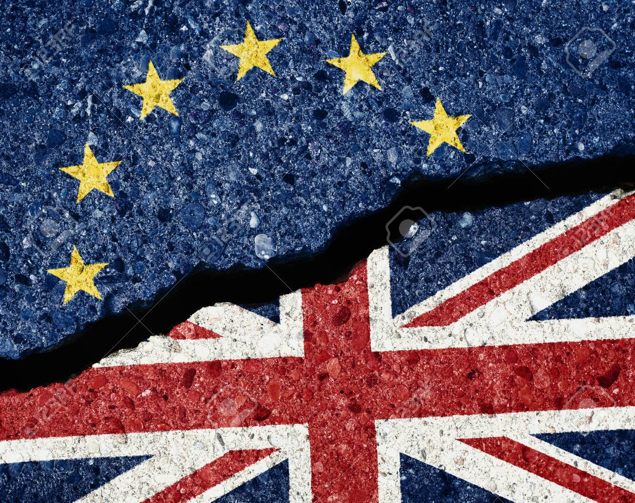 Brexit concept, crack in the asphalt dividing ue and gb flags - 84721664