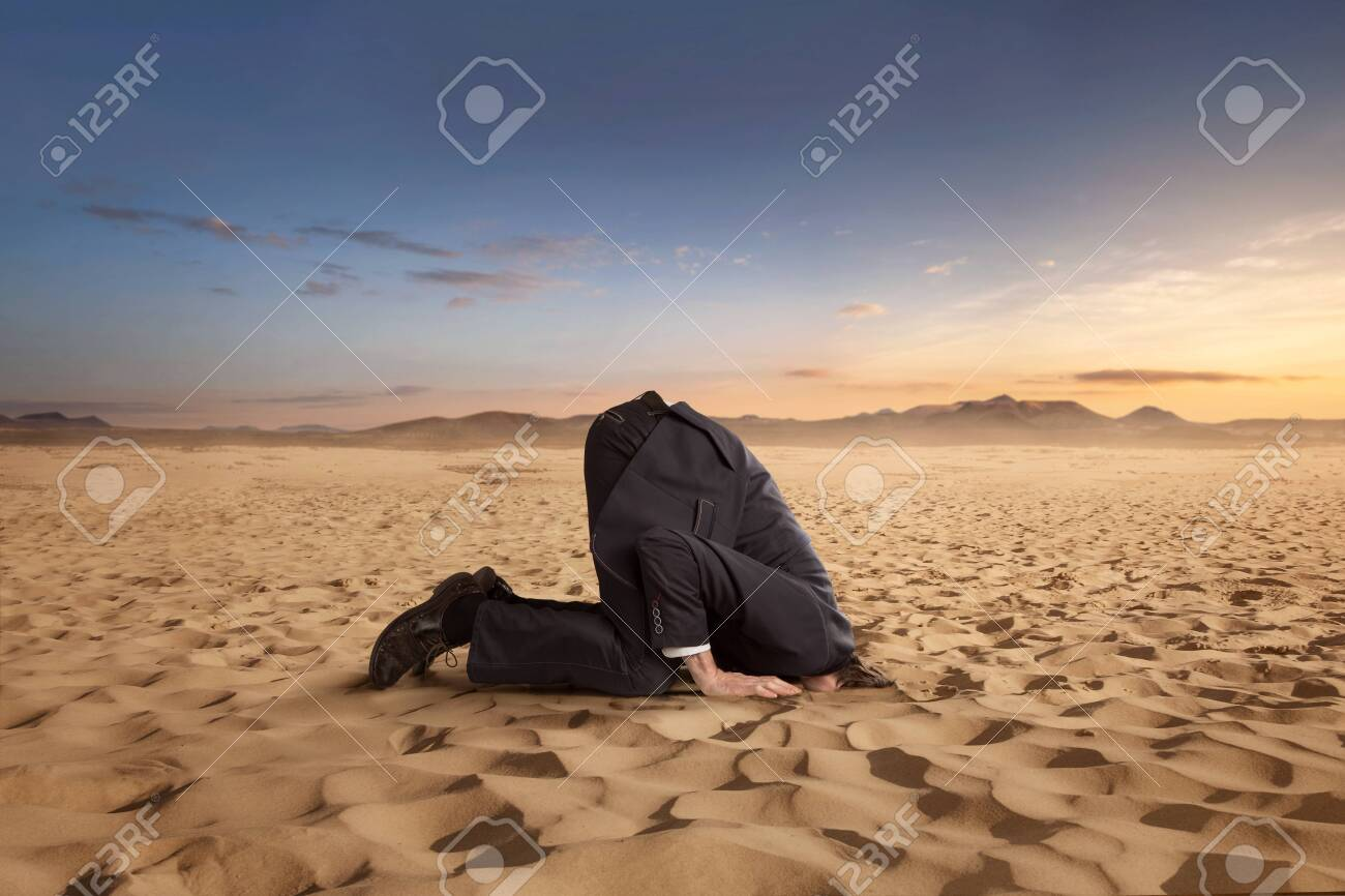 Desparate businessman hiding head in the sand at the desert with copy space - 138819818