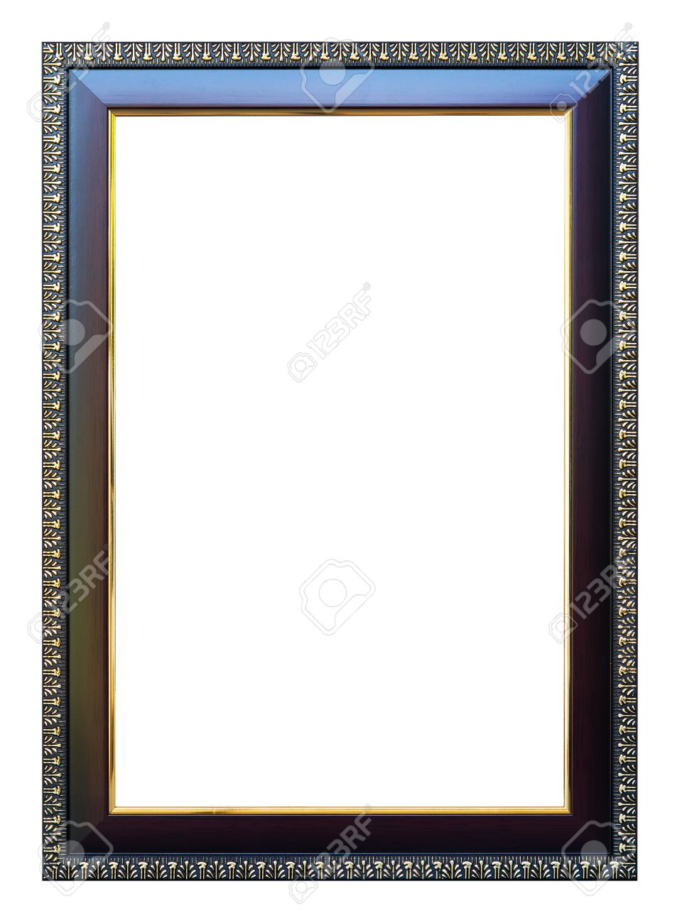 Frame Size 8 X 12 Color Dark Oak With Gold Trim Isolated On White