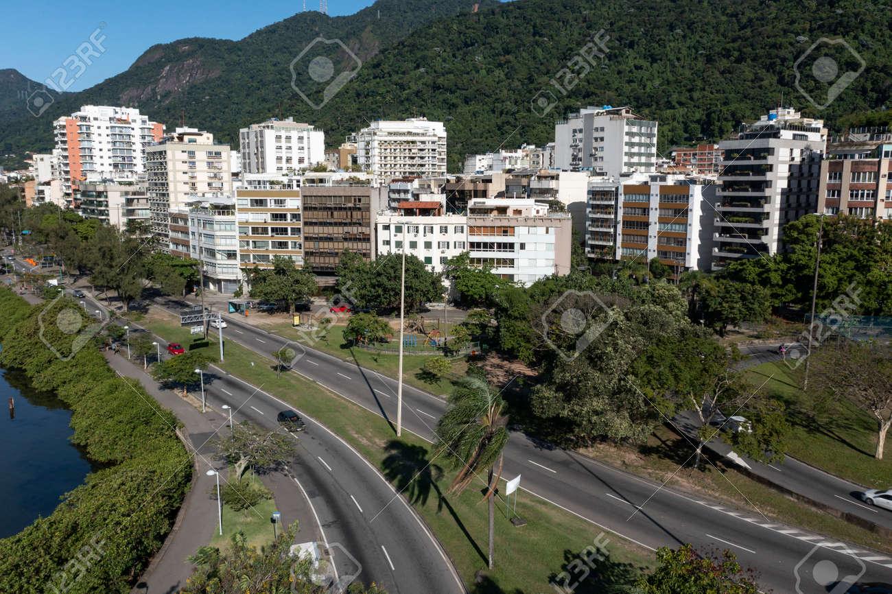 City of Rio de Janeiro, street Borges de Medeiros, Rodrigo de Freitas Lagoon, Brazil. - 166857481
