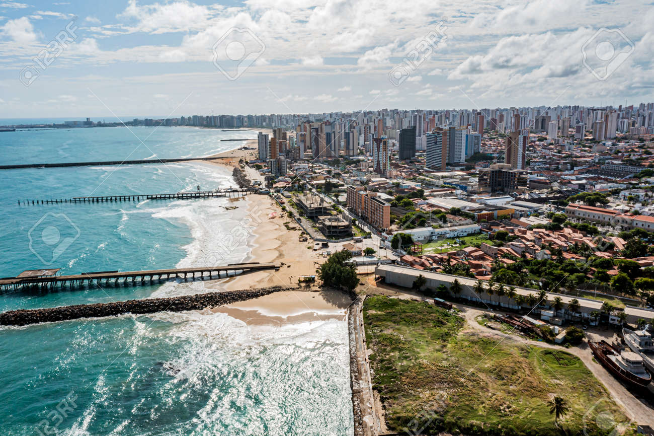 Aerial view of a pier with sea and ocean for travel and vacation. - 167569010
