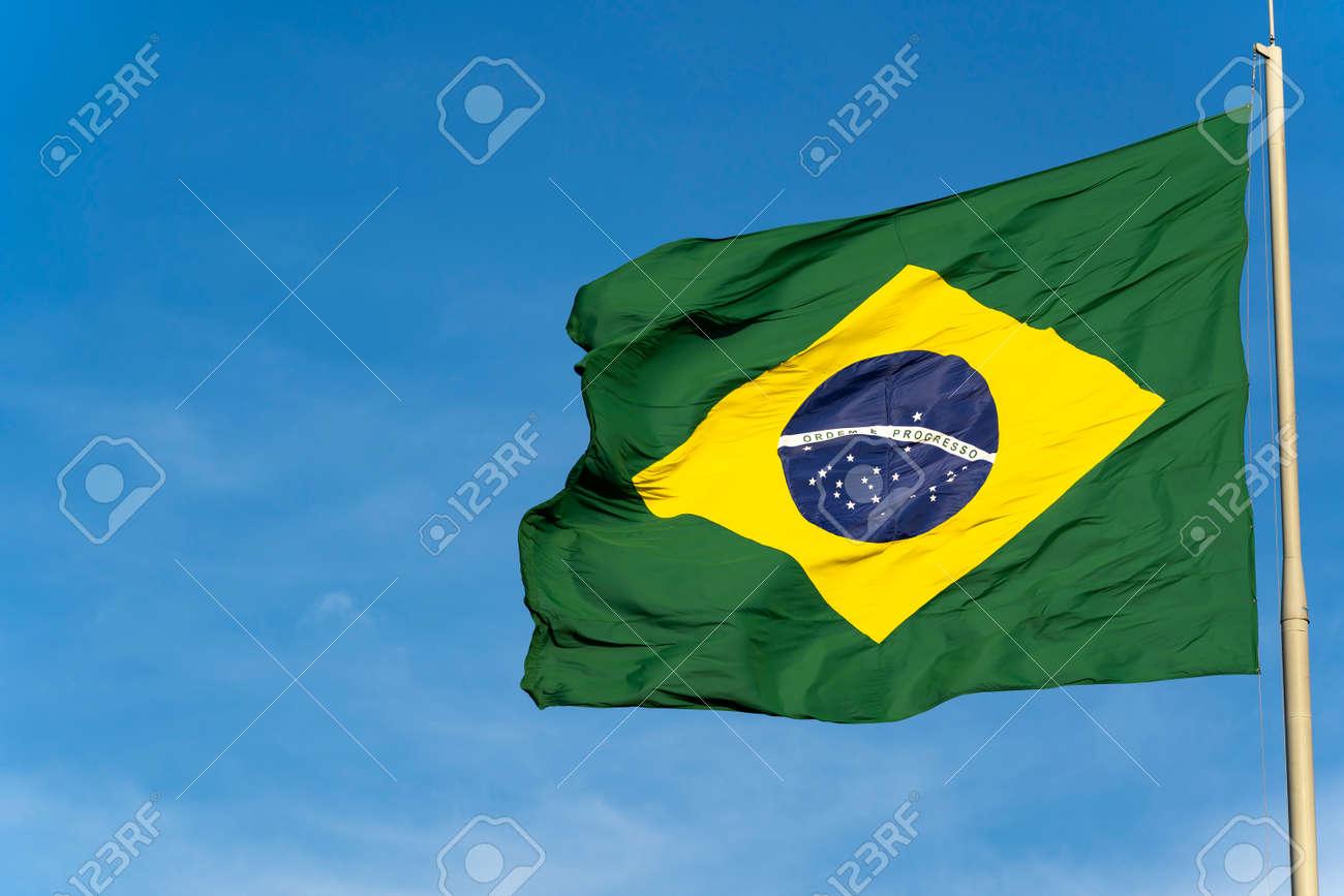 Brazil's flag. Flag of Brazil in the wind. - 169121465