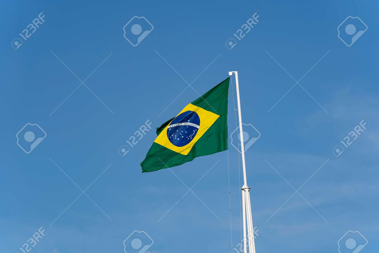 Brazil's flag. Flag of Brazil in the wind. - 169121466