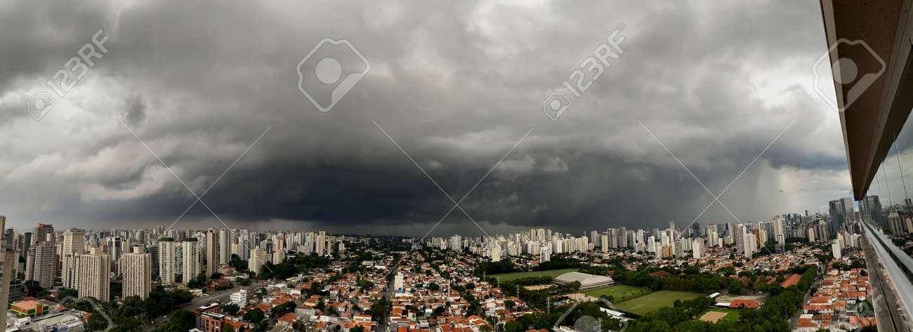 Dark dramatic cloudy sky on a stormy day. Panoramic photo. - 169121478