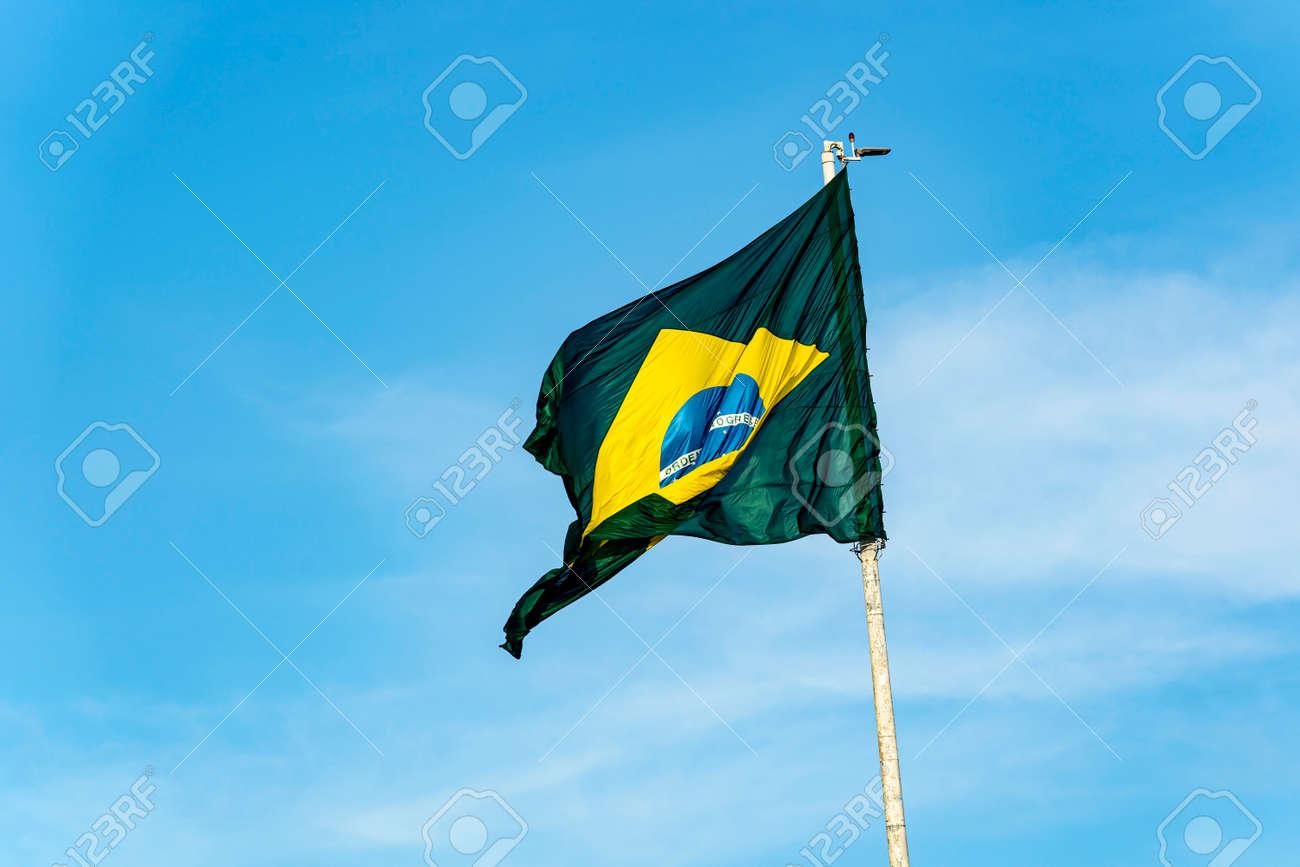 Brazil's flag. Flag of Brazil in the wind. - 172253509