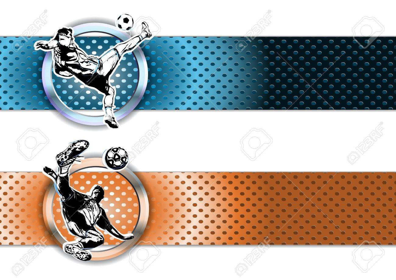 illustration of soccer players on chrome banners Stock Vector - 18134372