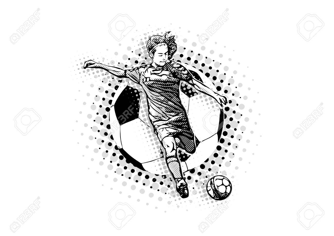 woman soccer player on the handball ball illustration - 94745188