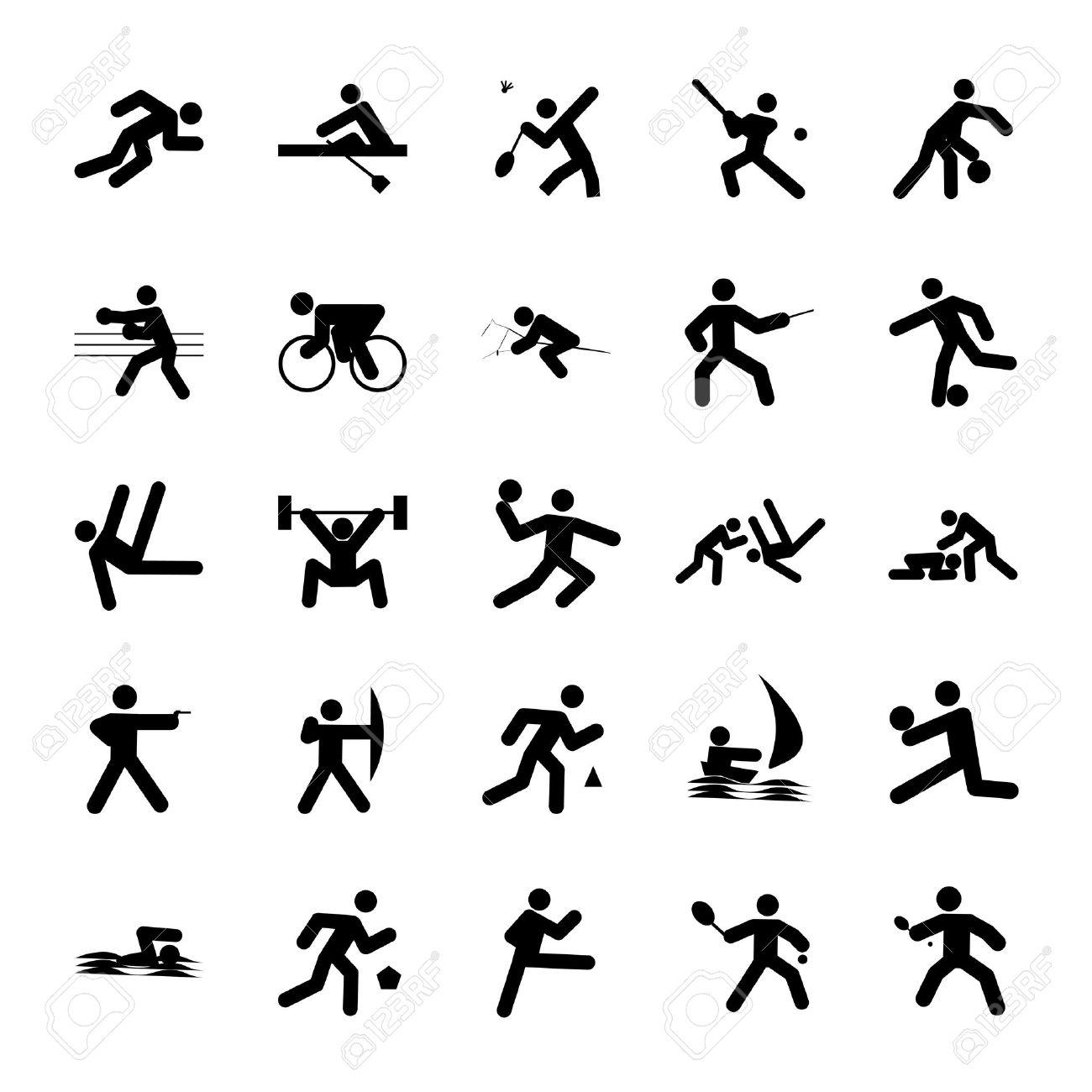 Logos De Deportes Juegos Olimpicos De Botones Negro Sobre Fondo