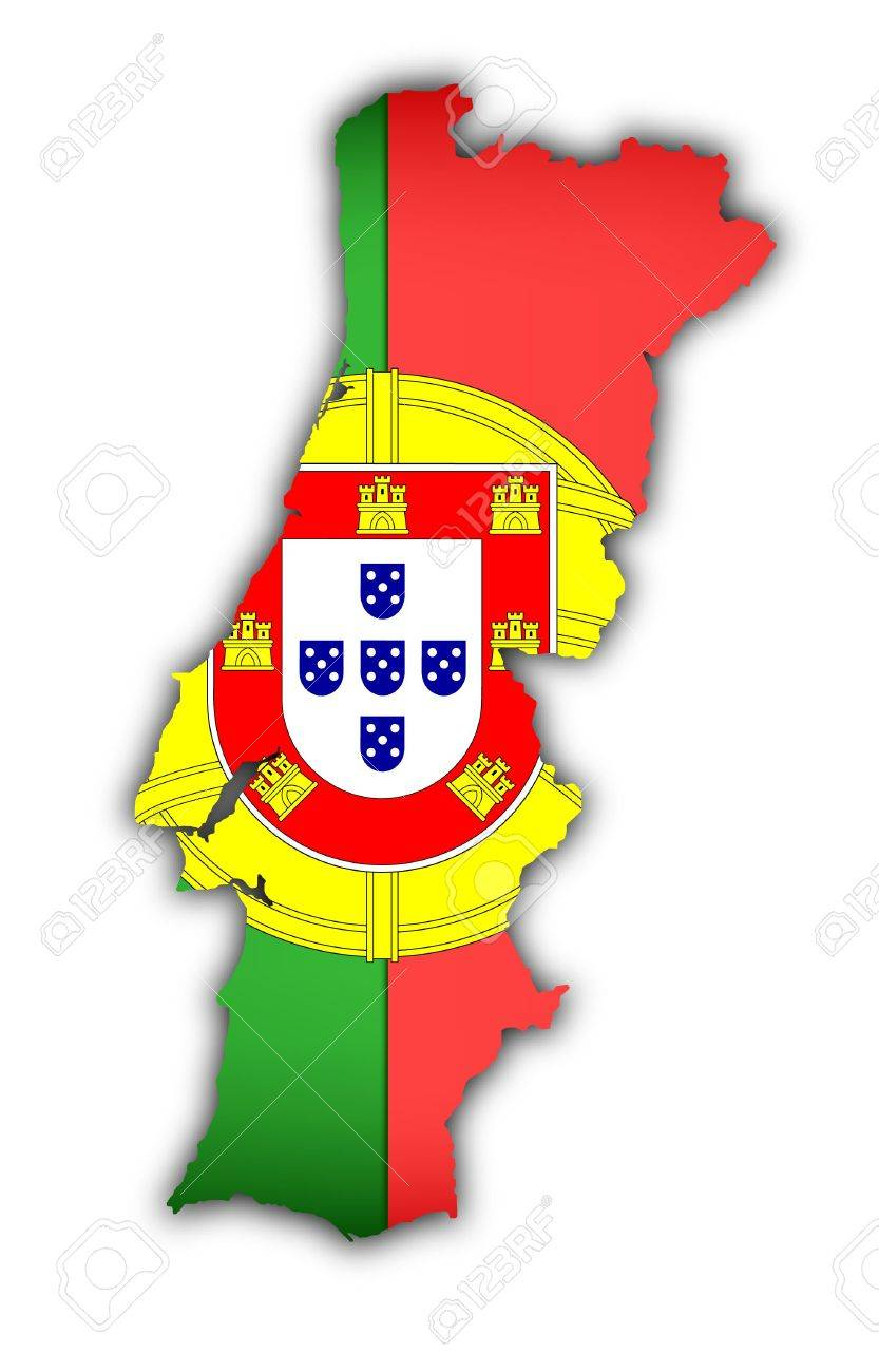 Flag And Map Of Portugal On White Background Stock Photo Picture - Portugal map flag