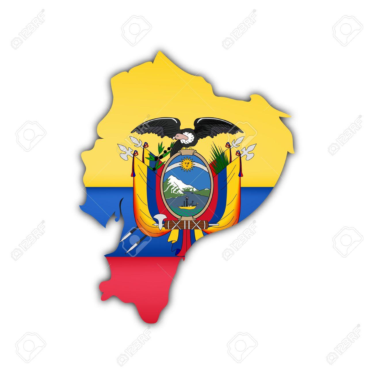 Ecuador Vector Flag Map And Flag of Ecuador With