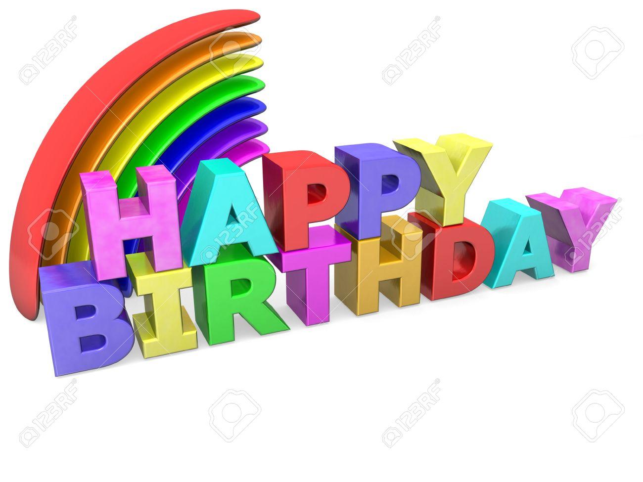 Feliz Cumpleaños Con Letras De Colores Y El Arco Iris Fotos ...