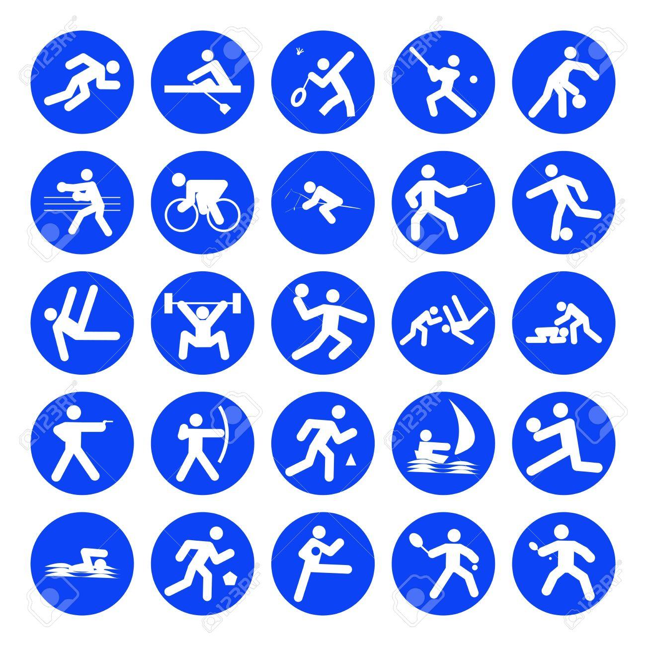 Logotipos De Deportes Los Juegos Olimpicos Azul Sobre Fondo Blanco