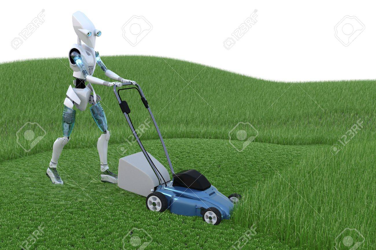 Robot mowing grass with lawnmower. Stock Photo - 15083606