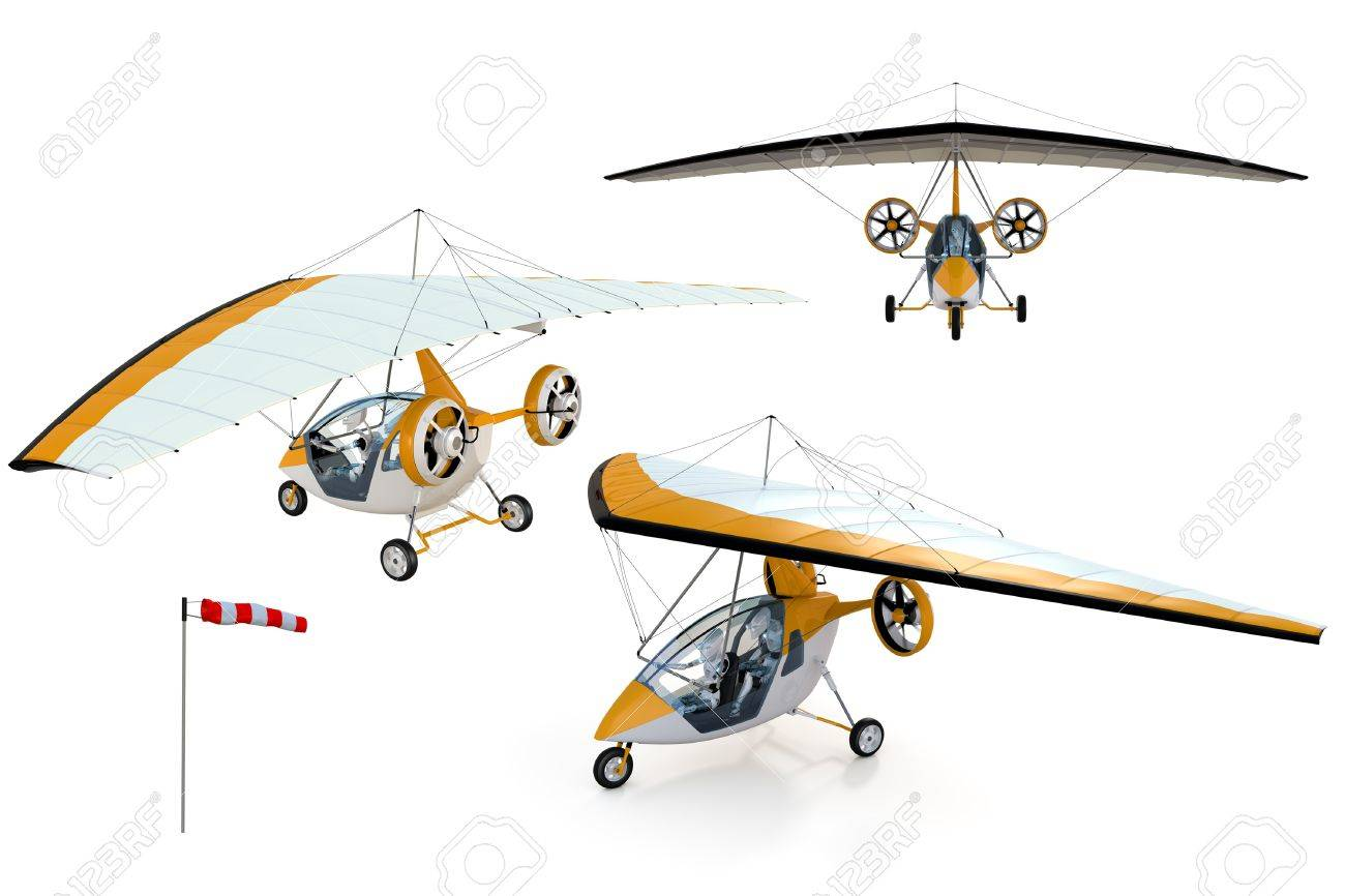 3D composite render of two robots flying in an ultralight trike