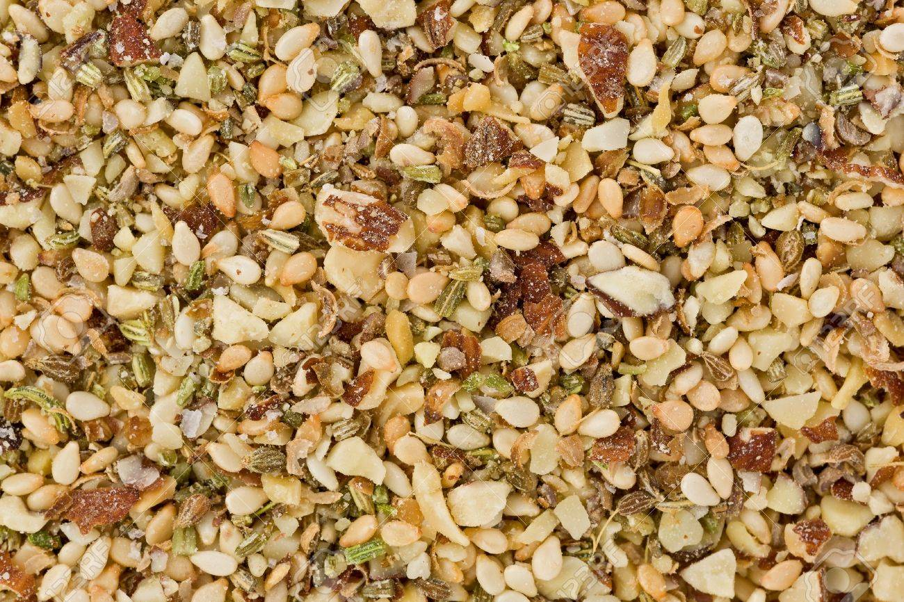 Background texture of dukkah, or duqqa  A savory spice blend