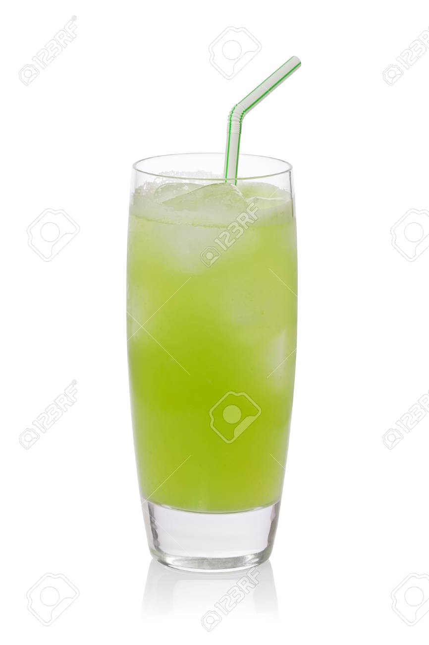 iced cold cactus drink or nopales agua fresca against a white