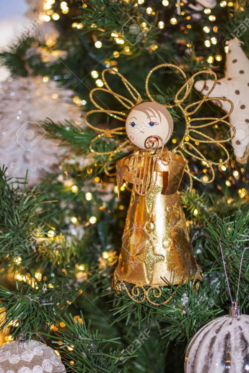 Angel Shaped Christmas Tree.An Angel Shaped Figure On The Christmas Tree With Christmas