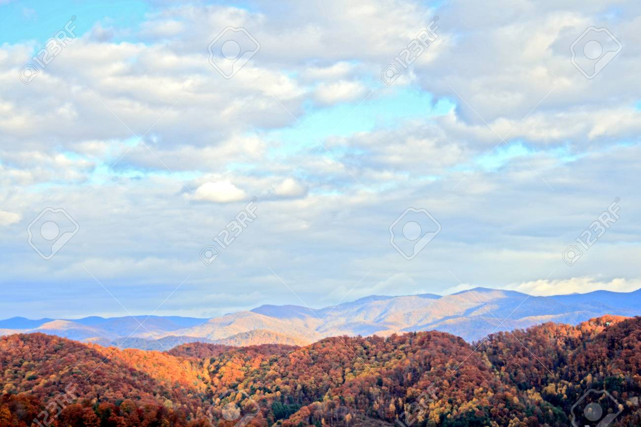 Distant Mountains and Clouds in Autumn Stock Photo - 4266807