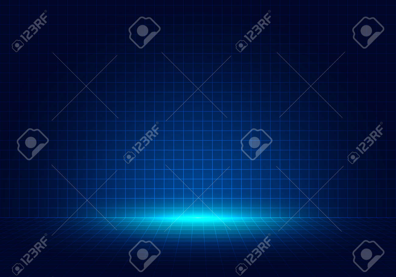 Abstract blue grid perspective design background with lighting. High technology lines landscape connect of future. Vector illustration - 169419273