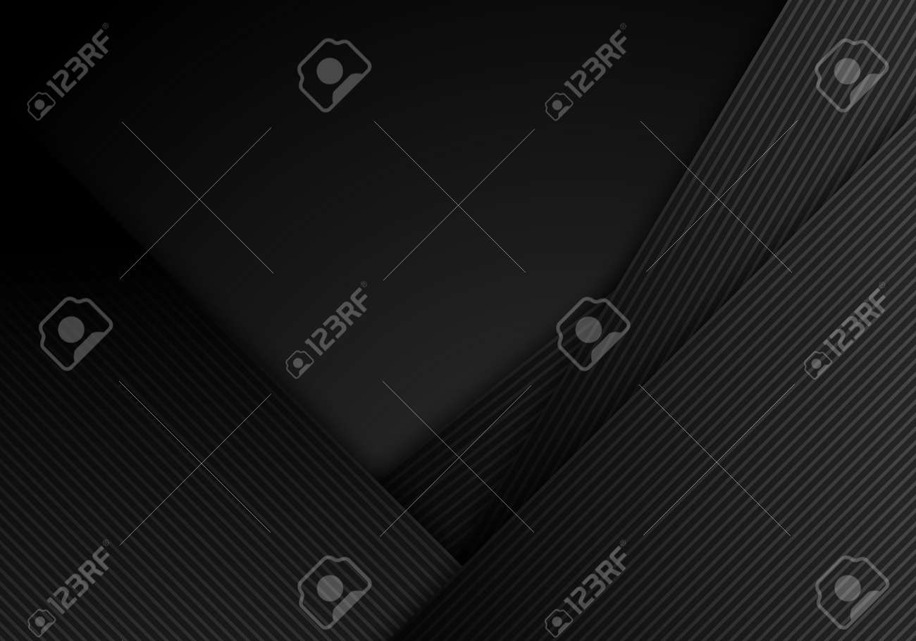 Abstract black stripes diagonal with lines layered on dark background and texture. Vector illustration - 169834998