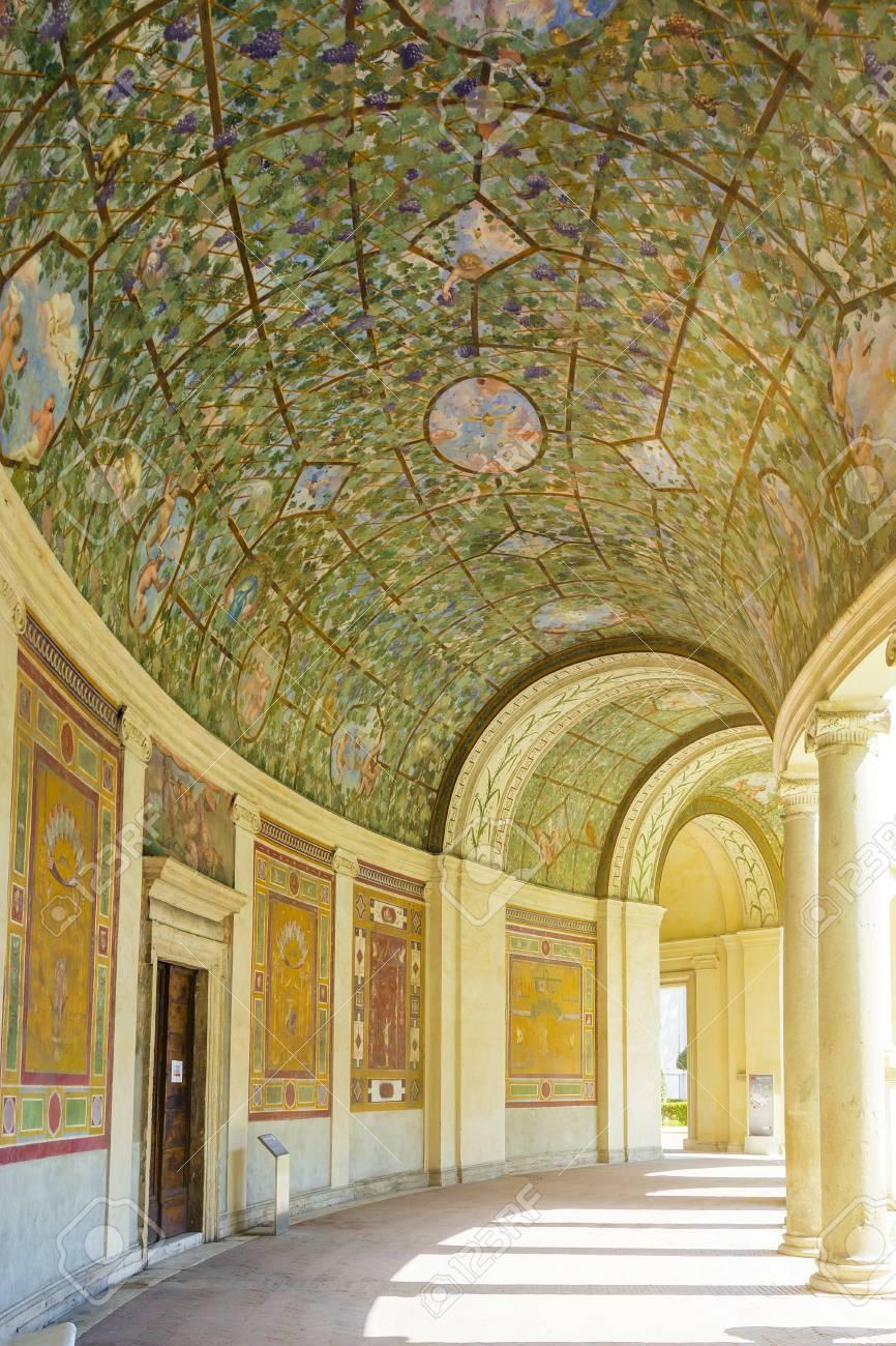 Rome, Italy, March 25, 2017: Courtyard And Arcade Of Villa Giulia ...