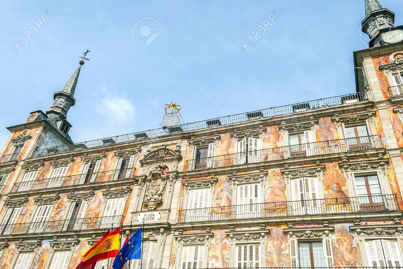 Bottom View Of The Casa De La Panaderia On Plaza Mayor In Madrid