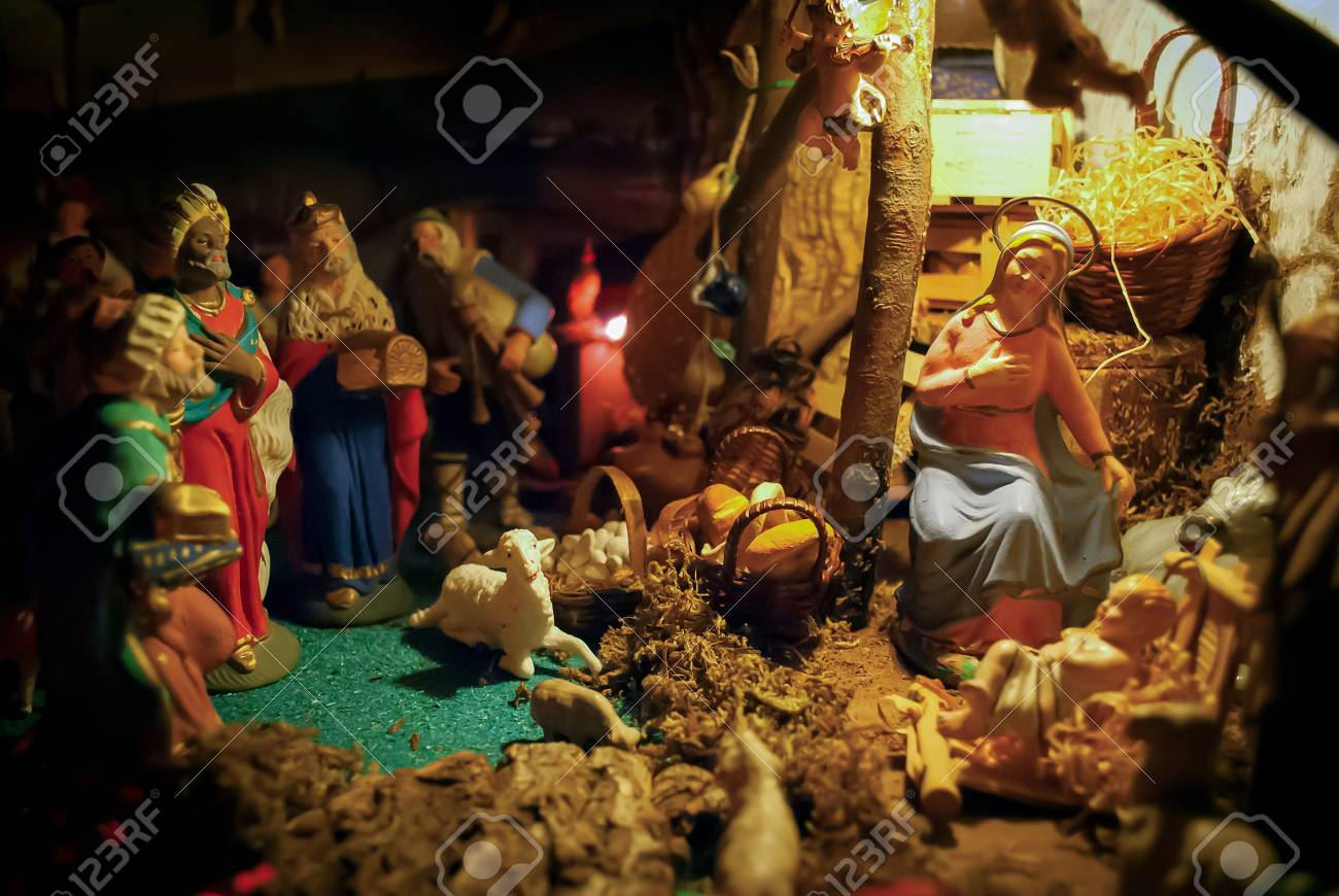 Christmas Manger Scene With Figurines Including Jesus, Mary,.. Stock ...