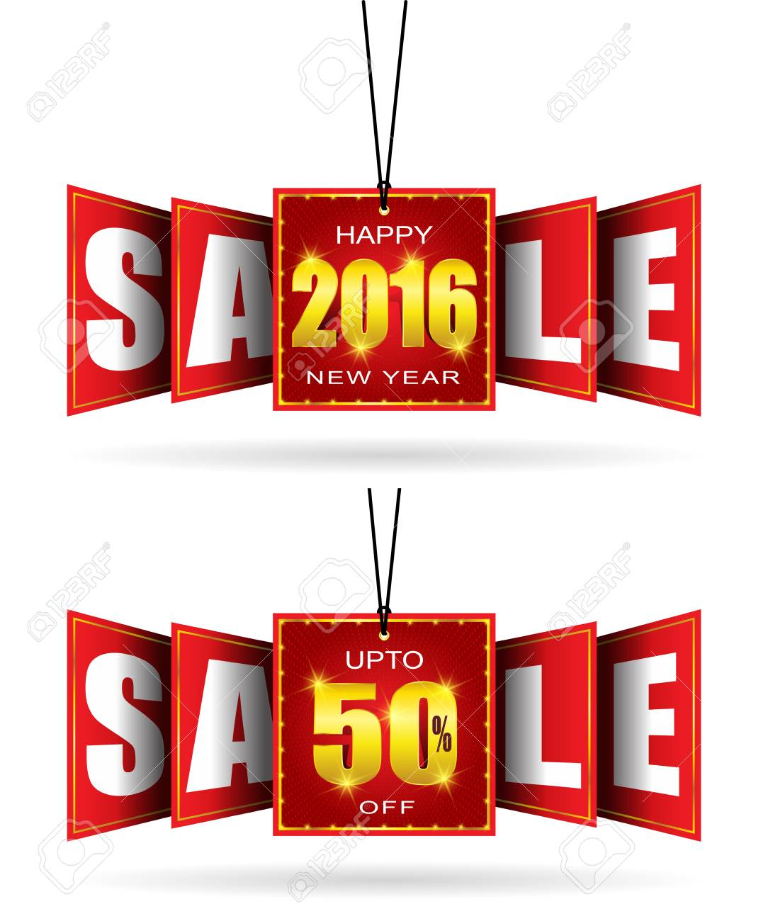 double sided vector hanging sale banner new year sale tag sale tag stock vector