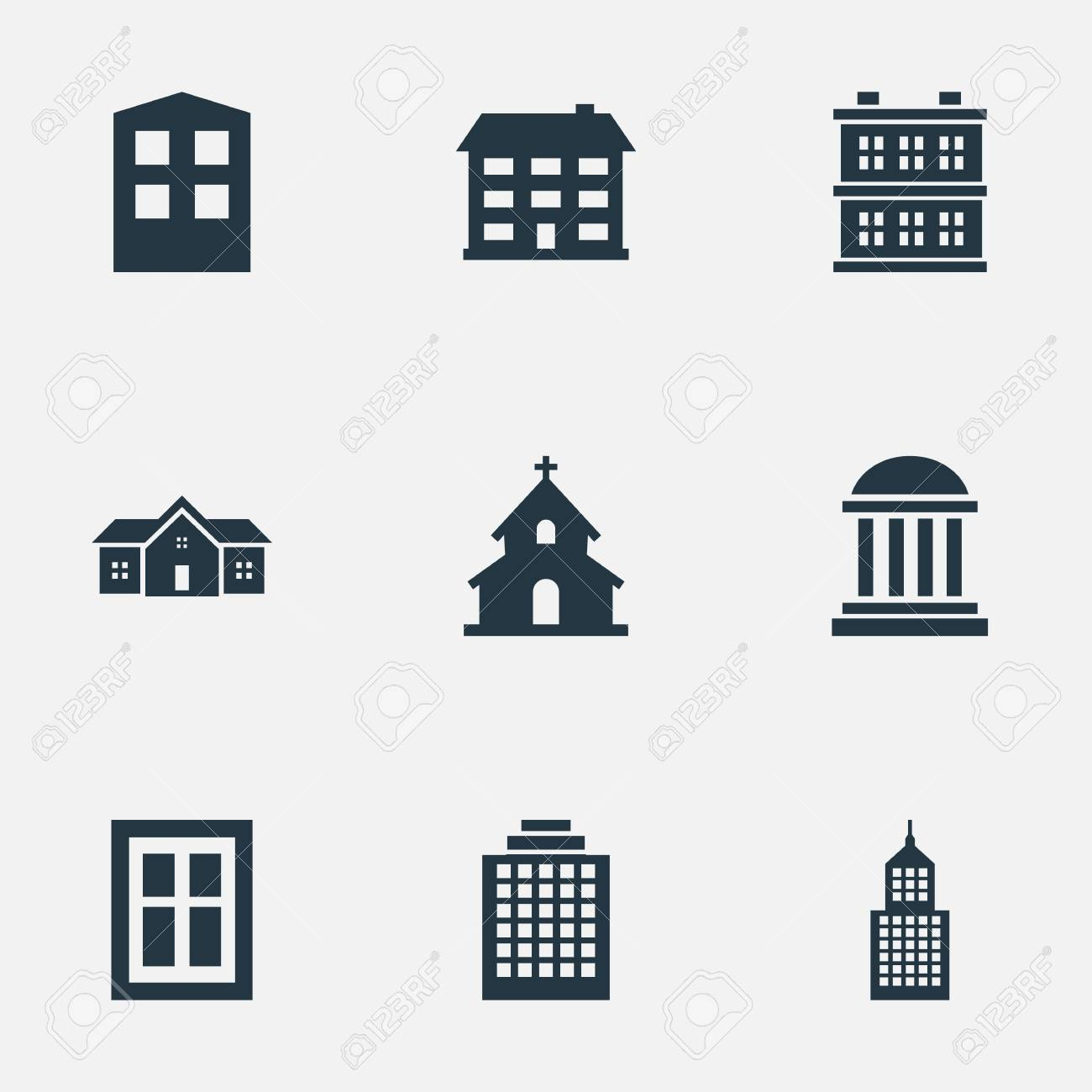 Vector Illustration Set Of Simple Architecture Icons Elements