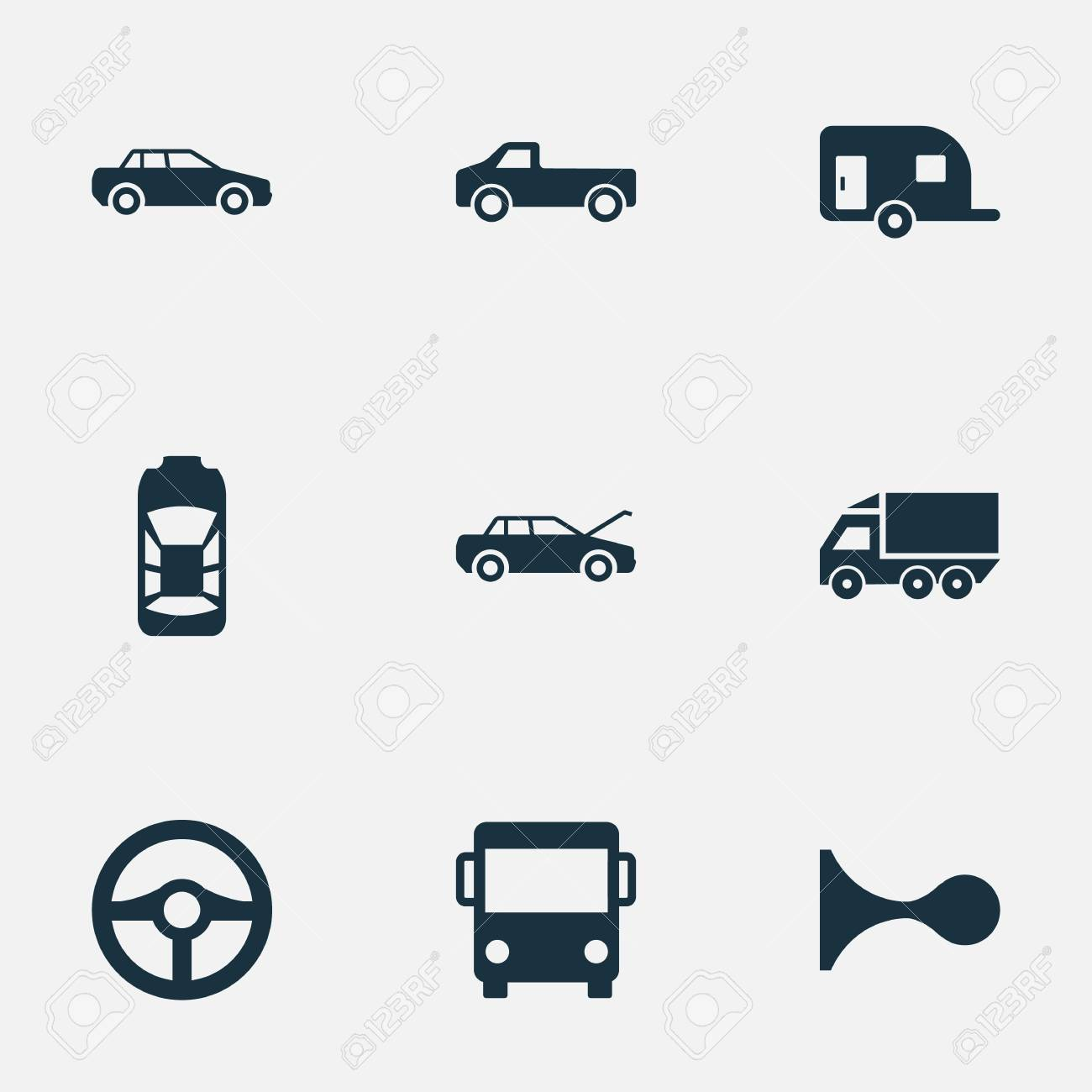 Vector Illustration Set Of Simple Automobile Icons  Elements