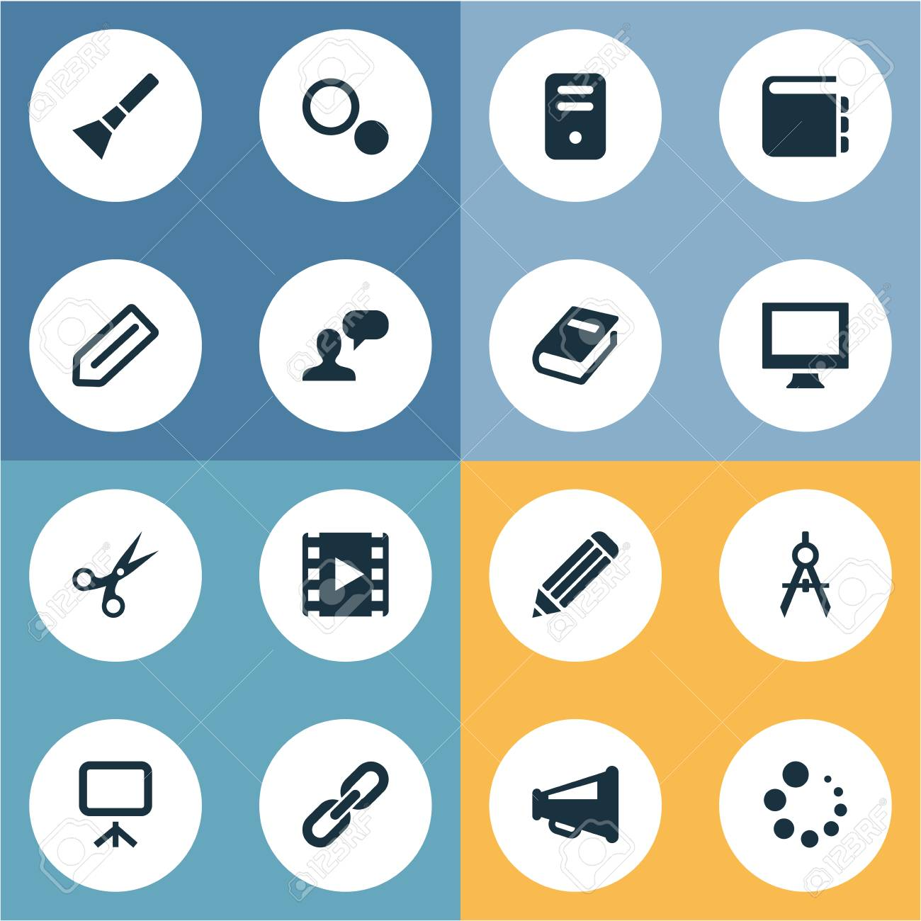 Vector Illustration Set Of Simple UI Icons. Elements Bullhorn,..