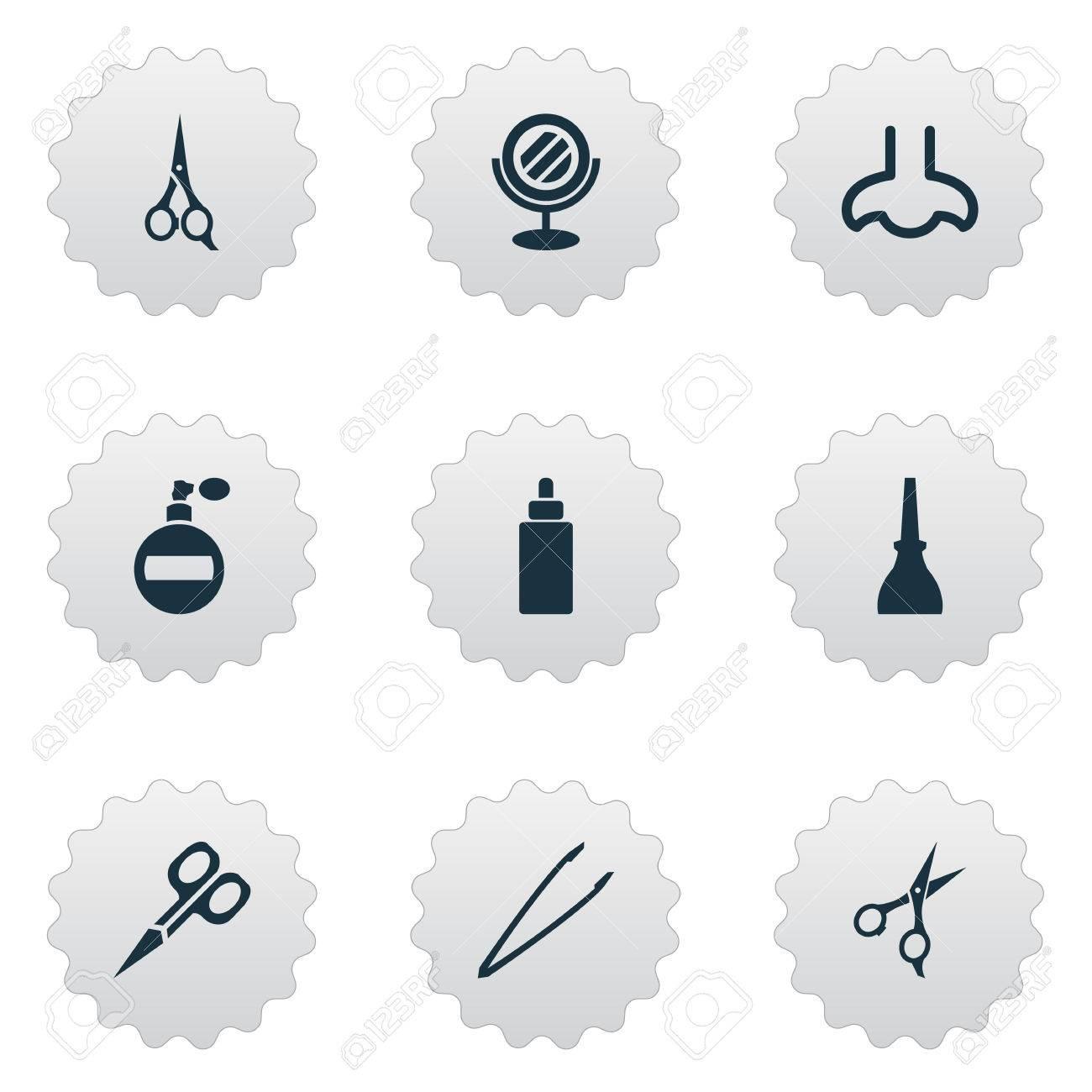 Abbildung Satz Einfache Schönheits-Ikonen. Elemente Nagellack, Duft ...