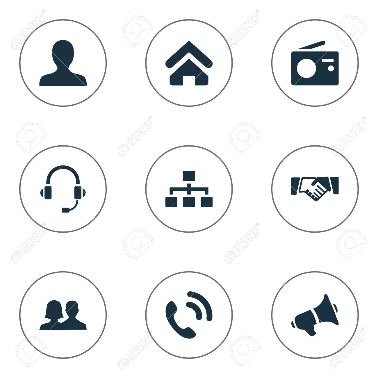 Vector Illustration Set Of Simple Network Icons  Elements Member,