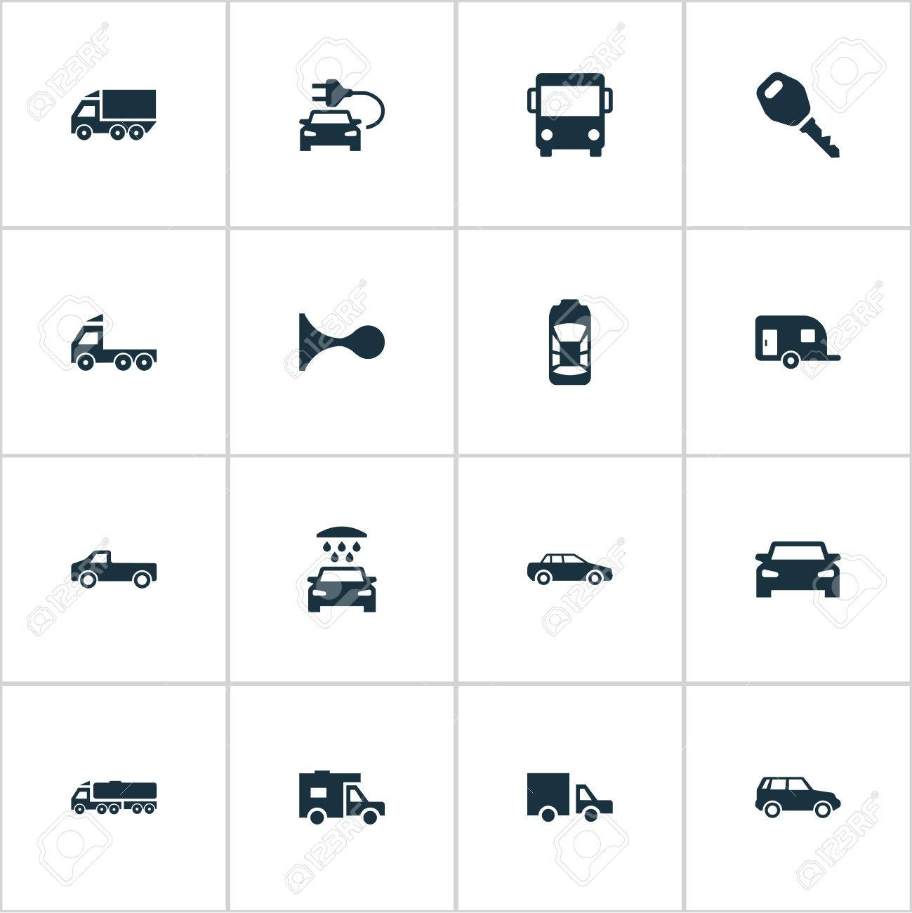 Vector Illustration Set Of Simple Transport Icons  Elements Camion,