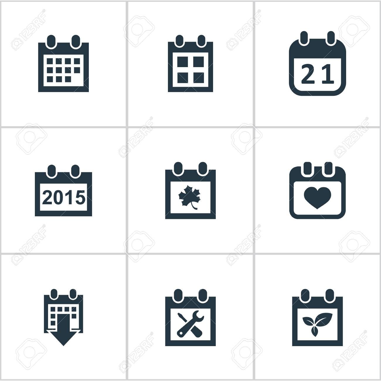 Vector Illustration Set Of Simple Date Icons Elements History