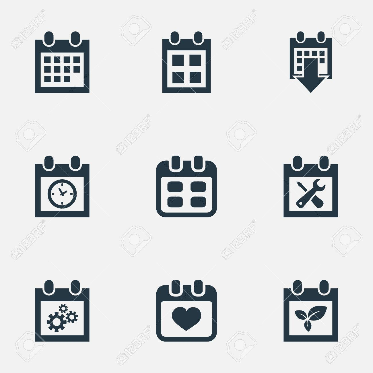 Vector Illustration Set Of Simple Time Icons Elements History