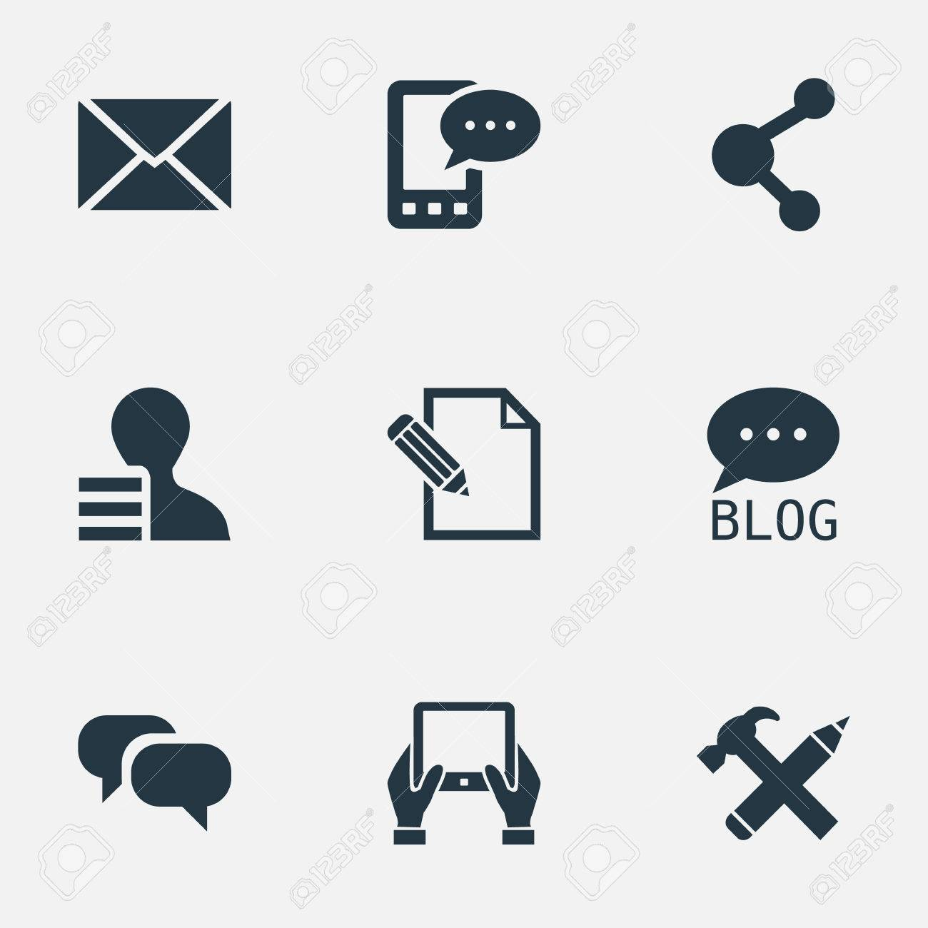 Vector Illustration Set Of Simple Blogging Icons  Elements Site,