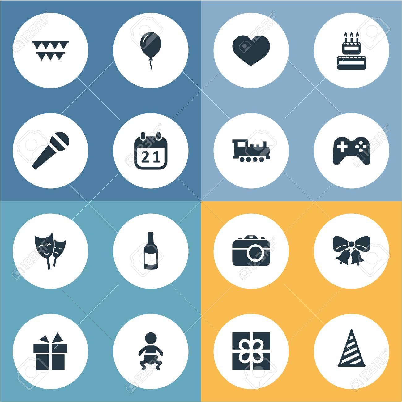 Illustrazione Set Di Icone Di Compleanno Semplici Elementi