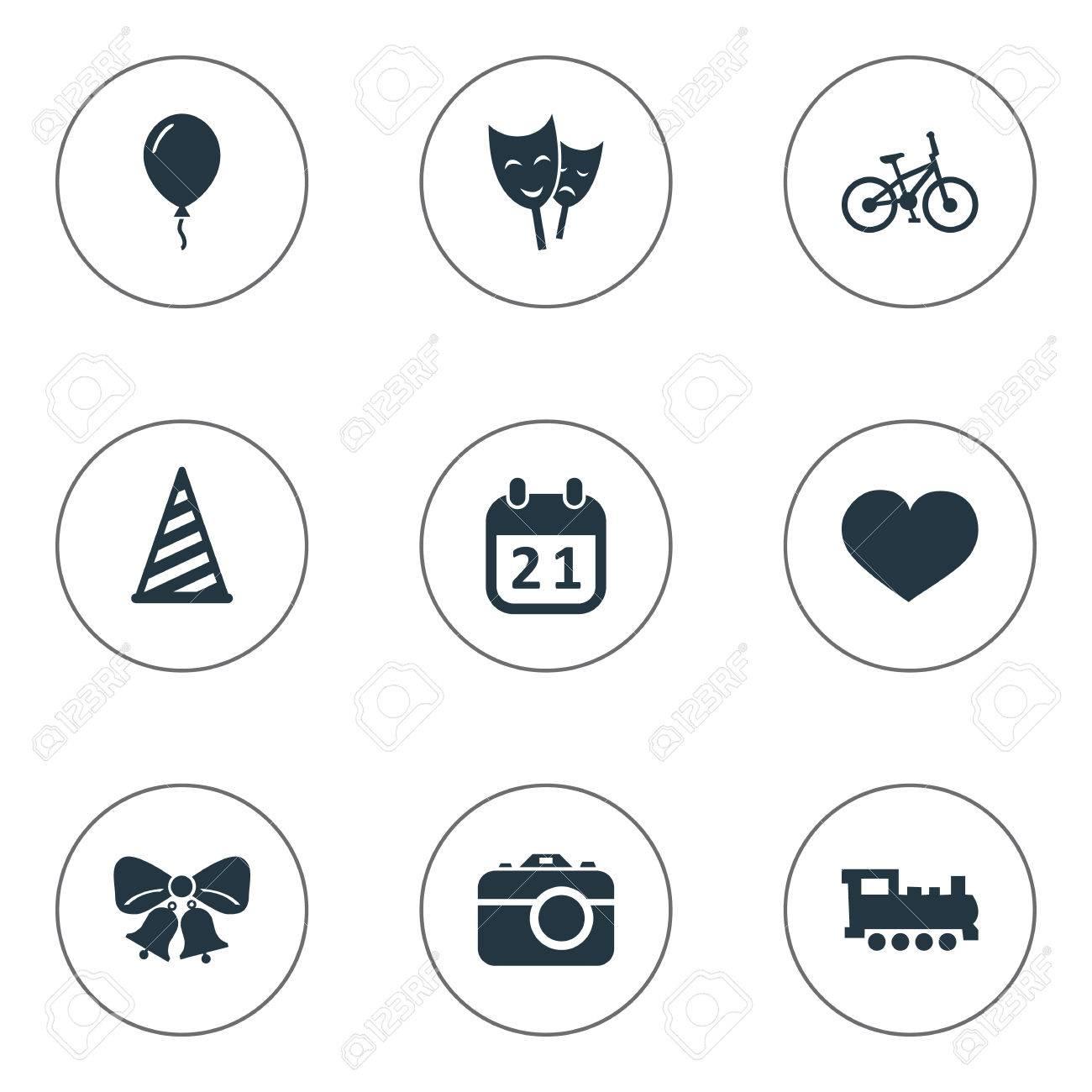 簡単な誕生日アイコンのベクター イラスト セット要素の共鳴キャップ