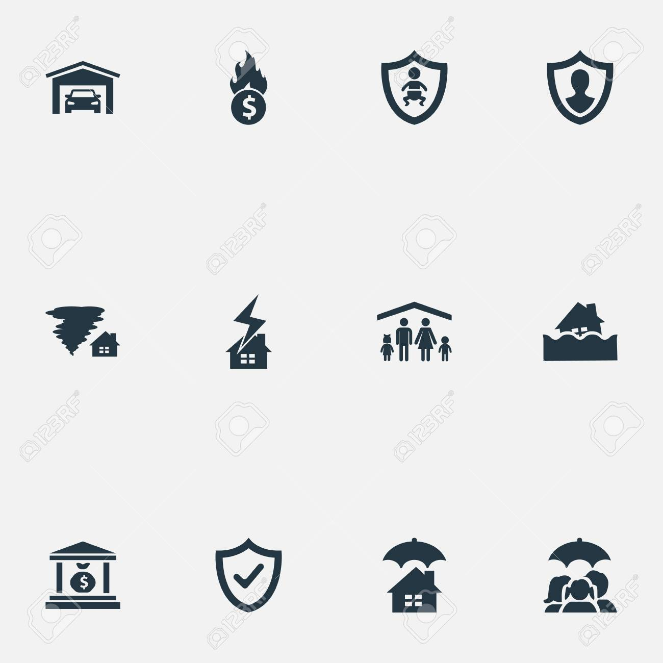 vector illustration set of simple insurance icons elements vehicle rh 123rf com Vector Graphics Torrent Vector Magic Torrent