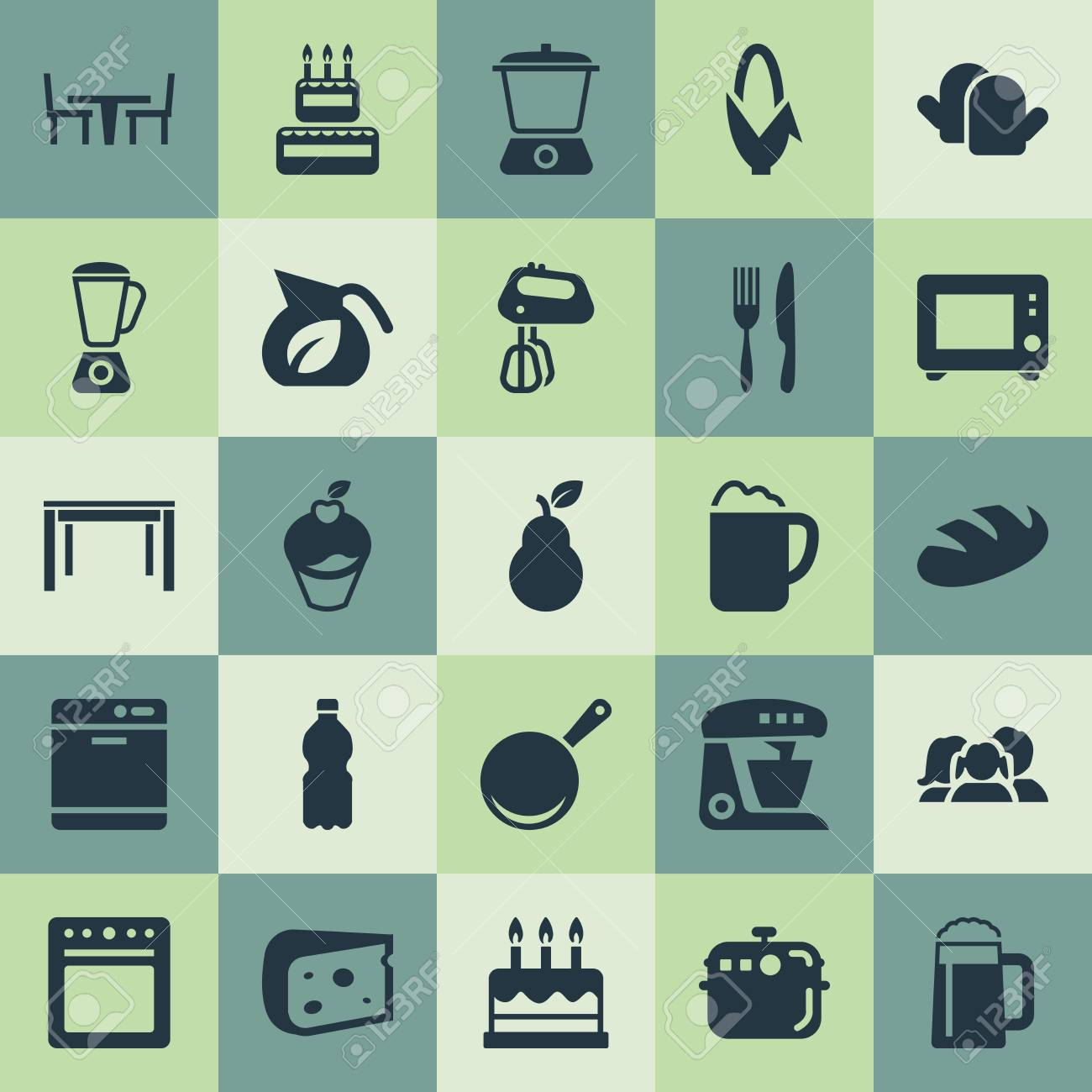 Vector Illustration Set Of Simple Kitchen Icons. Elements Wheat ...