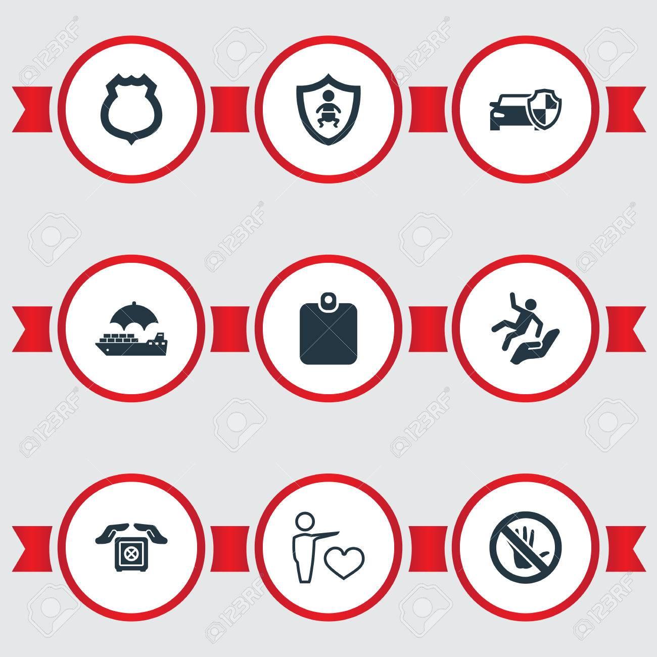 lace up in hot sales online store Illustration vectorielle définie des icônes d'assurance simple. Élément  véhicule protégé, transport sécurisé, badge de la police et autres  synonymes, ...