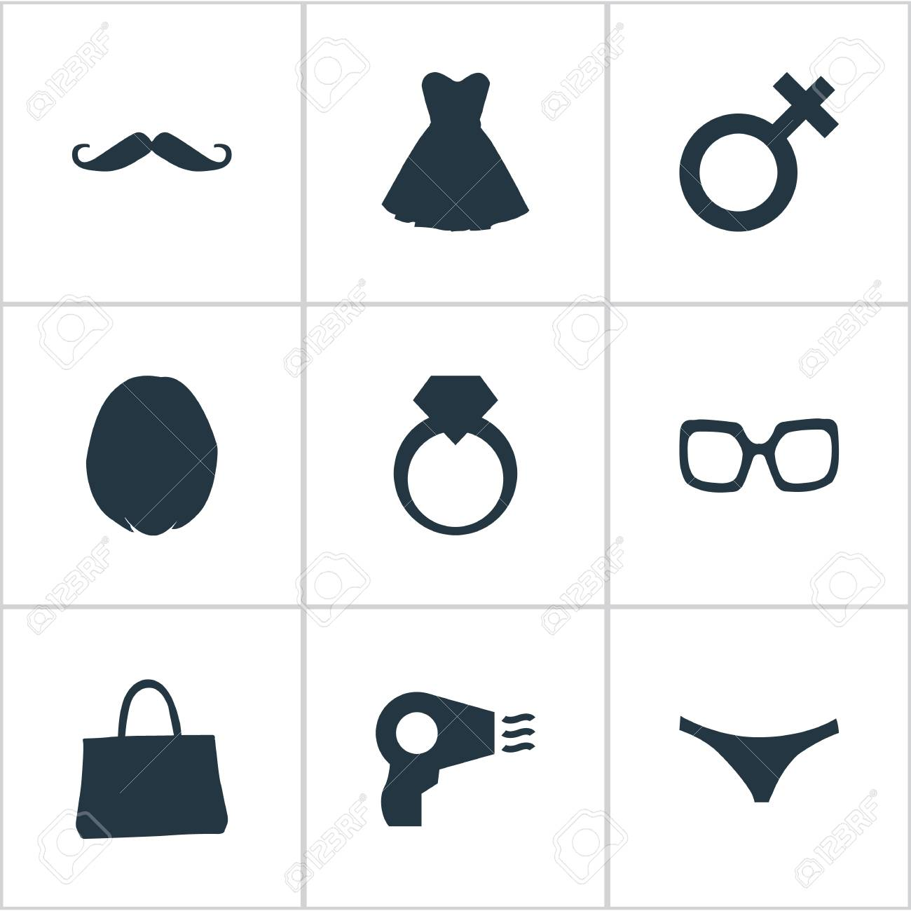 Vector Illustration Set Of Simple Elegance Icons. Elements Blowdryer ...